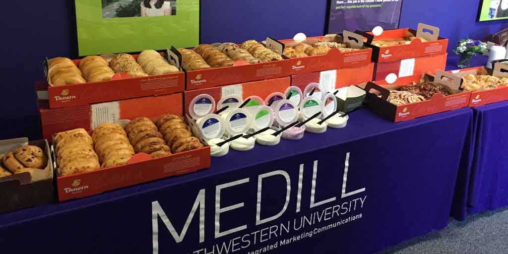 Bagels and cream cheese for student appreciation event.