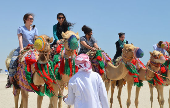 Students ride camels during a visit to Northwestern's Qatar campus