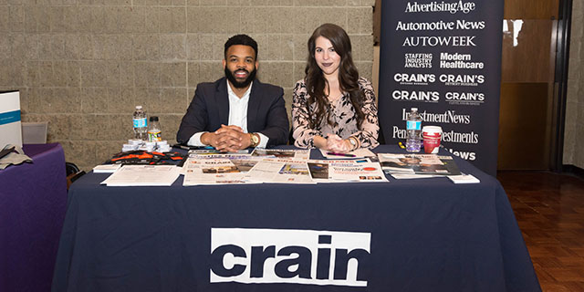 Career fair desk for Crain's