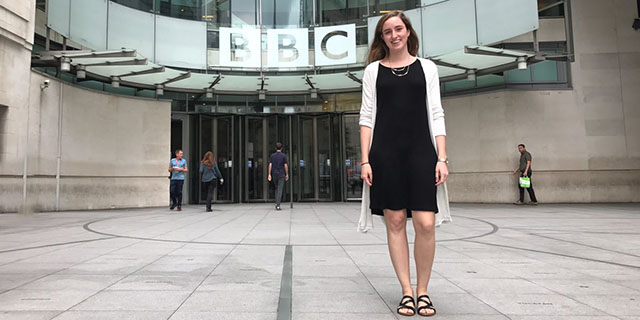 Student working at BBC in London