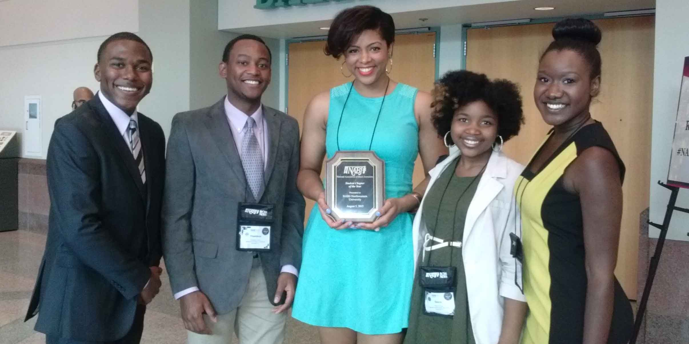 Northwestern NABJ chapter posing with an award.