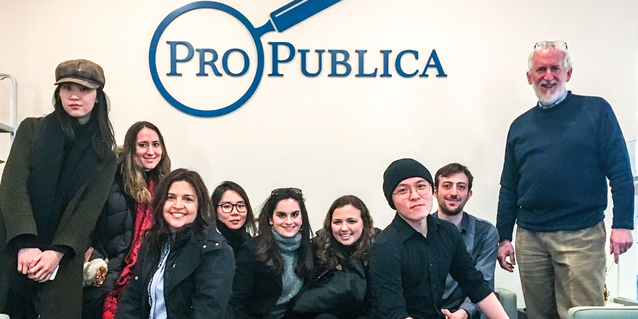 Medill Media Innovation and Entrepreneurship students pose for a photo at the ProPublica office in New York City