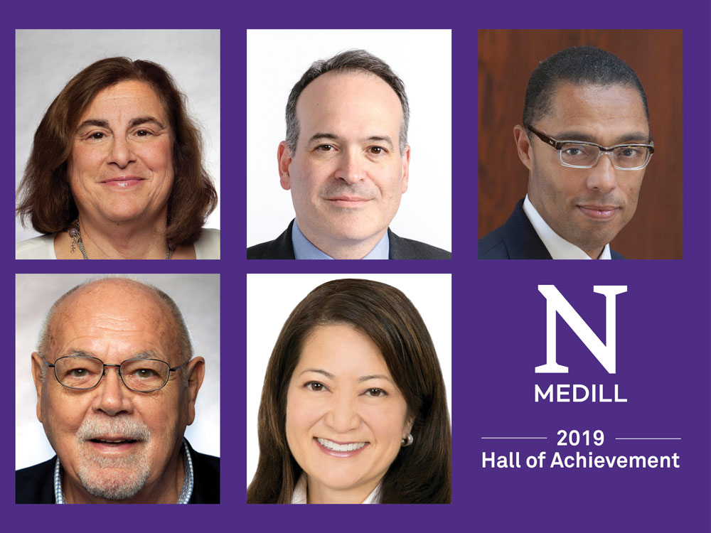 Headshot photos of the five 2019 inductees into the Medill Hall of Achievement