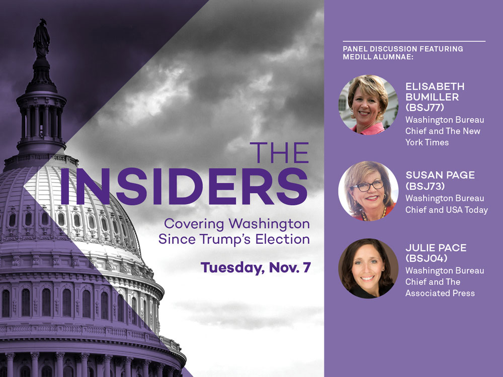 Image of the Capital with thumbnail images of three Medill alumnae who are Washington bureau chiefs