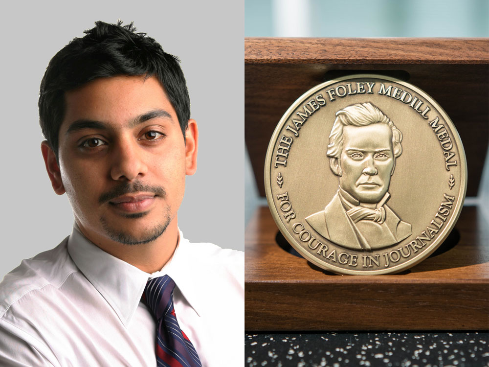 Headshot photo of Azam Ahmed on the left; photo of the James Foley Medill Medal for Courage in a wooden box on the right