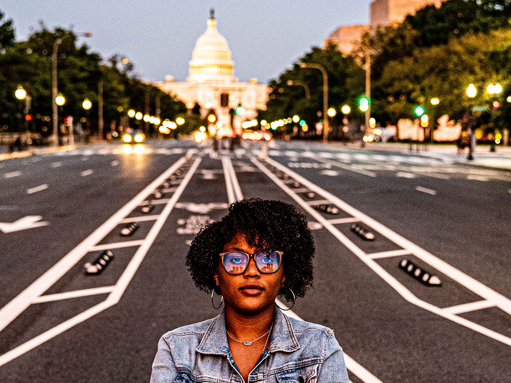 India Walton poses in front of the Capitol building