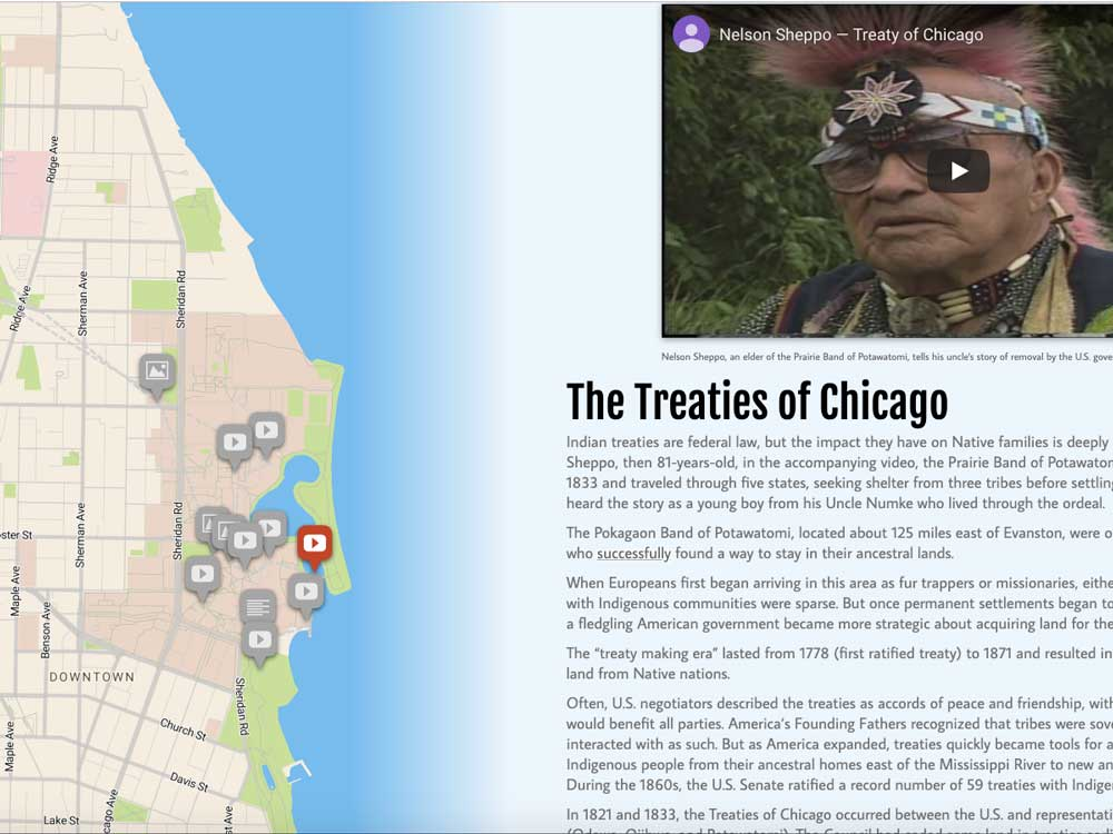 A slide from the Indigenous Tour of Northwestern featuring The Treaties of Chicago