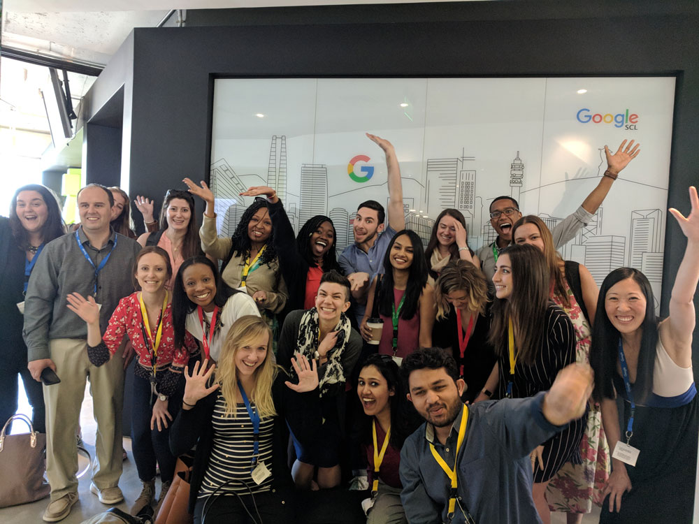 Students pose for a photo at Google's office in Santiago, Chile