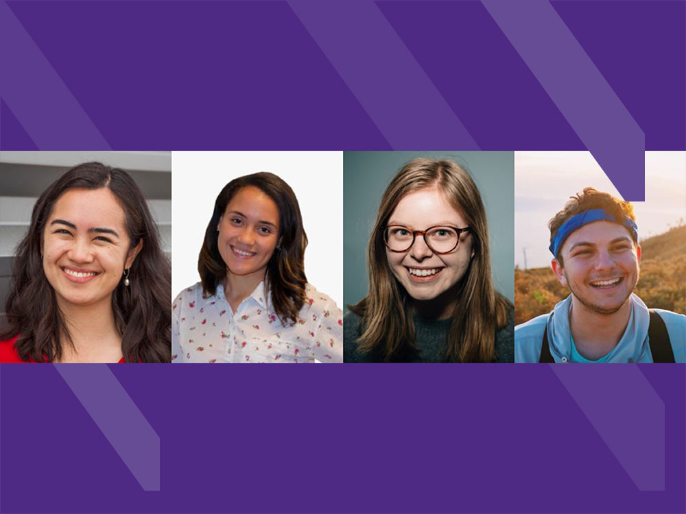 Headshots of the selected students set on a purple background