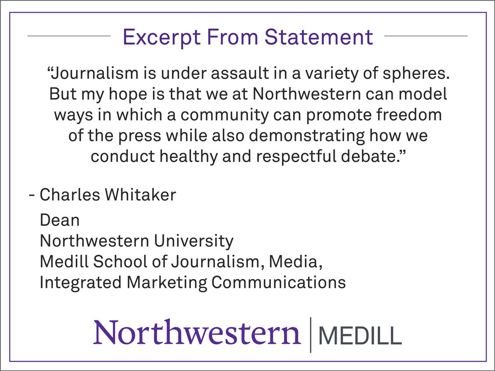 Statement from Medill Dean Charles Whitaker