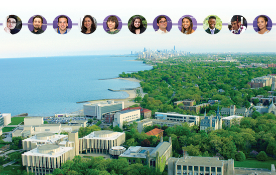 An aerial image of the Northwestern campus looking towards Chicago with thumbnail photos of recent graduates on it