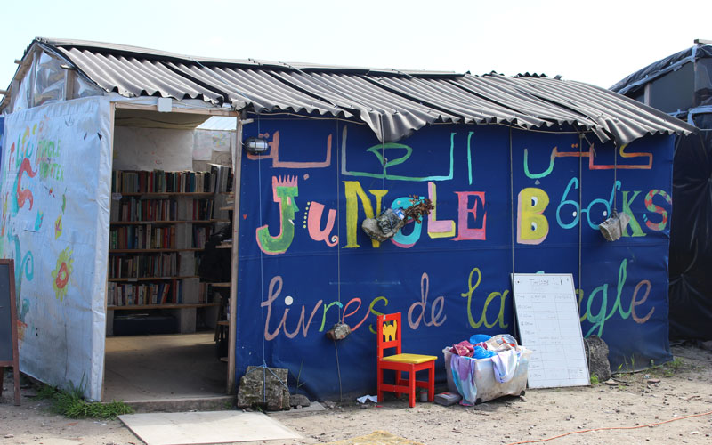 The Calais Library at The Jungle refugee camp