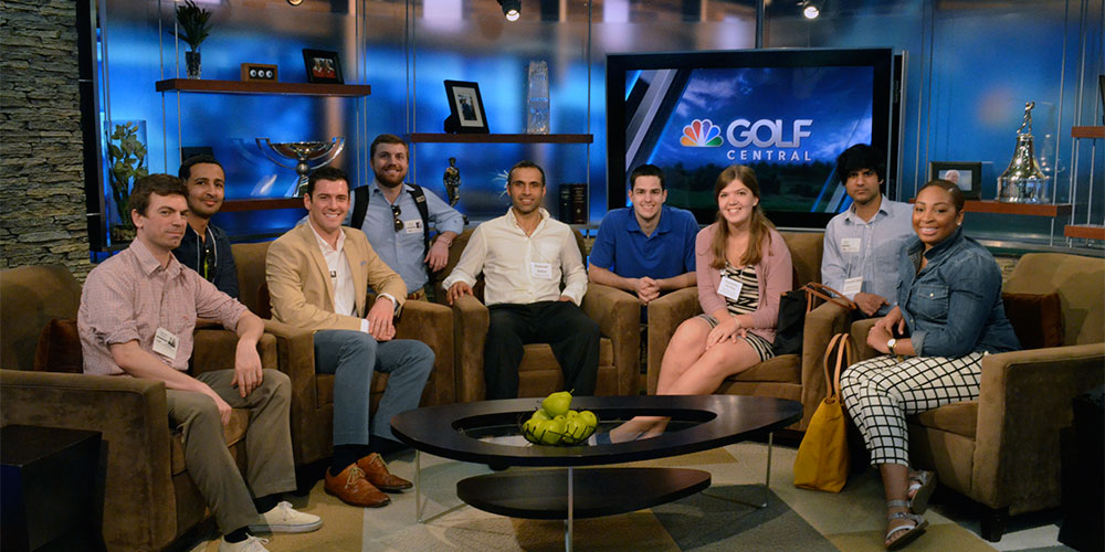 Students take a seat at one of the Golf Channels studios.