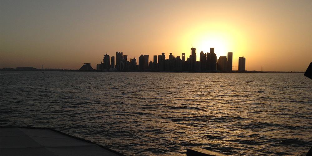 The View of Doha at sunset from the Dhow boat.